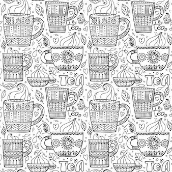 Set of beautiful doodle cups