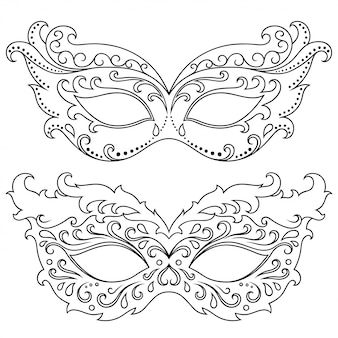 Set of beautiful festival masks for celebrating halloween, new year, brazilian or venetian carnival, mardi gras or a party. elements of women's holiday costume. isolated outline with floral pattern.