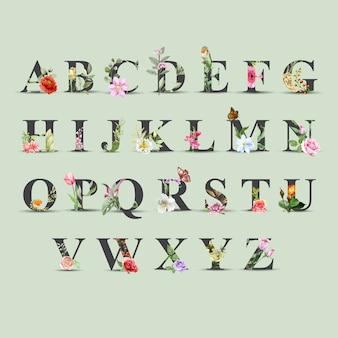 Set beautiful of floral watercolor alphabet a to z