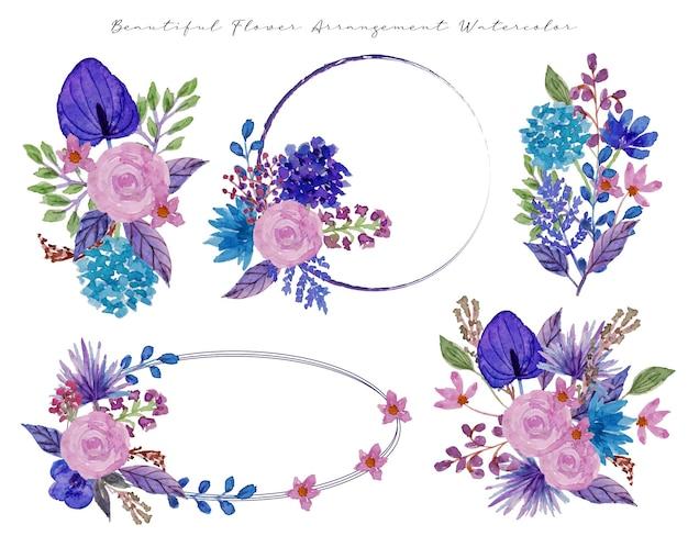 A set of beautiful flower arrangement watercolor