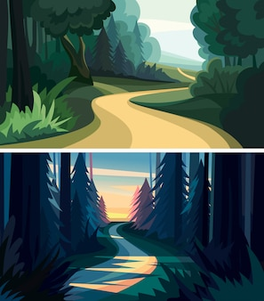 Set of beautiful forest landscapes