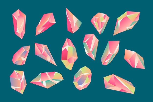 Set of beautiful geometric crystals and gems