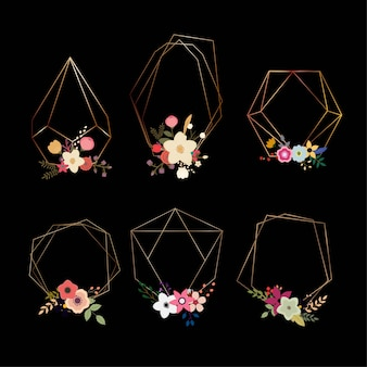 Set of beautiful geometrical shapes with flowers