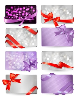 Set of beautiful gif cards with red gift bows with ribbons