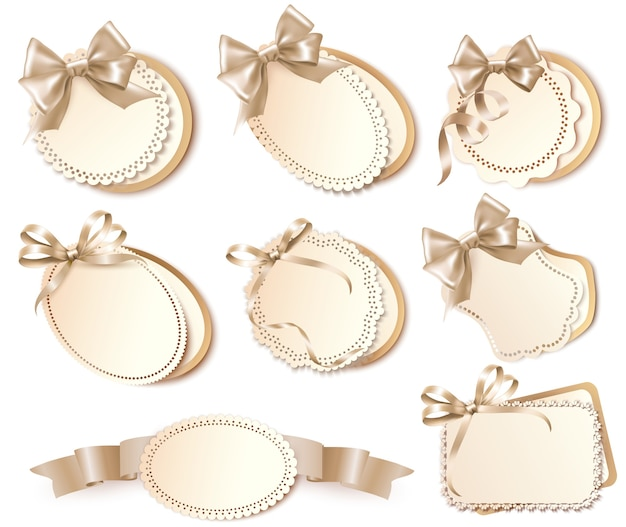 Set of beautiful gift cards with bows and ribbons