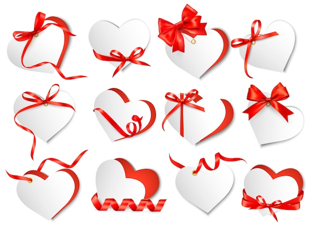 Set of beautiful gift cards with red gift bows and hearts. valentine's day. Premium Vector