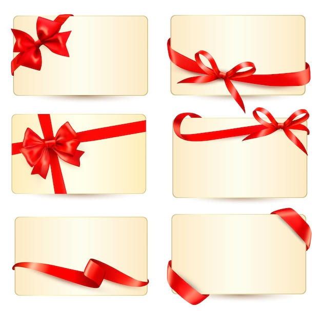 Set of beautiful gift cards with red gift bows with ribbons