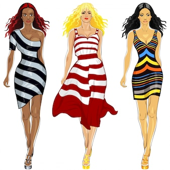 Set beautiful girls in a striped dresses
