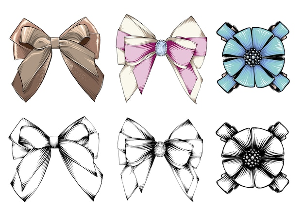 Set of beautiful graphic bows. hand drawn bows collection. colored vector set. isolated Premium Vector