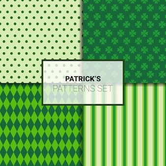 Set of beautiful green backgrounds for st. patricks day seamless patterns with shamrock leaves