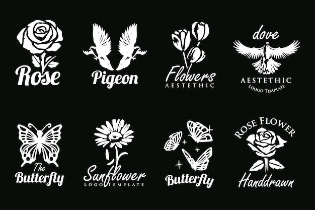 Set of beautiful hand drawn collection of flower bird and butterfly logos