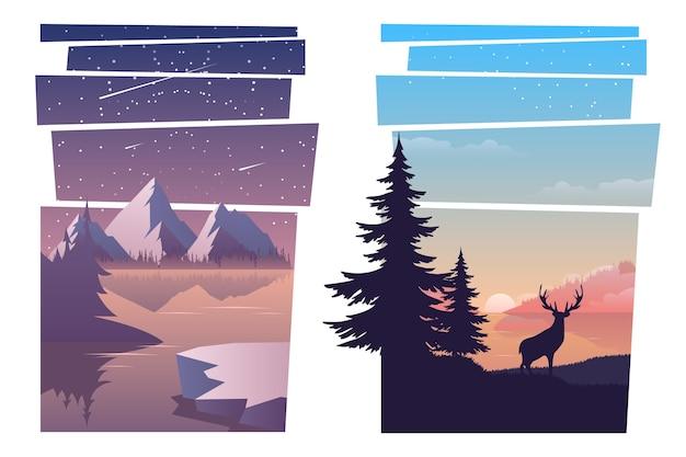 Set of beautiful landscapes