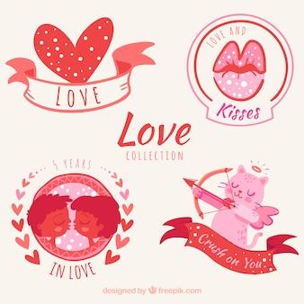 Set di bellissimi adesivi d'amore