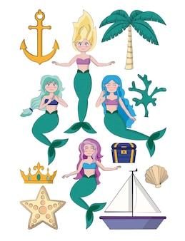 Set of beautiful mermaids cartoons vector illustration graphic design
