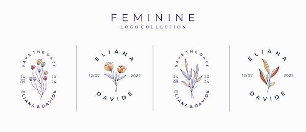Set of beautiful minimalist floral logo template