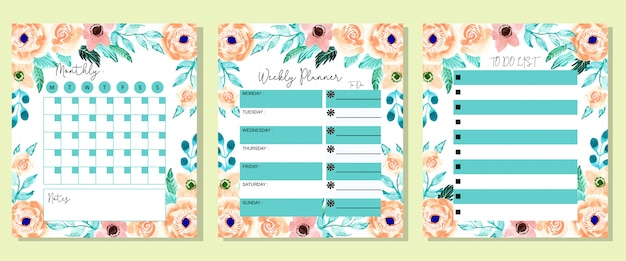 Set beautiful monthly weekly and to do list planner watercolor flower