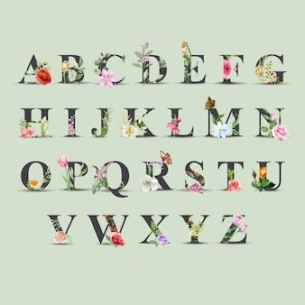 花の水彩アルファベットaからzの美しいセット