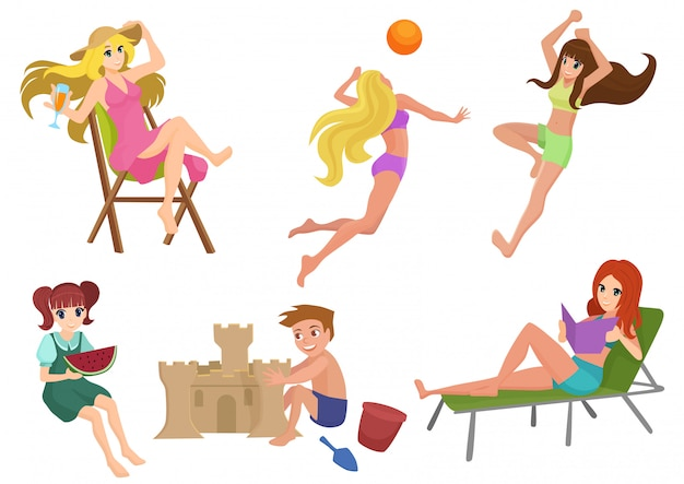 Set of beautiful pretty summer woman beach actions. girl relaxing, reading, playing volleyball. kids building sand castle.