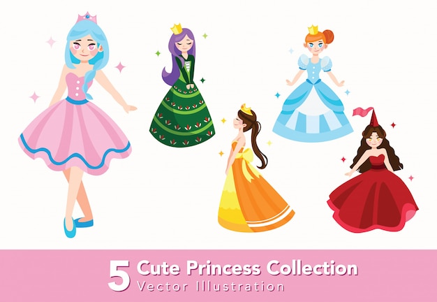 Set of beautiful princess illustration