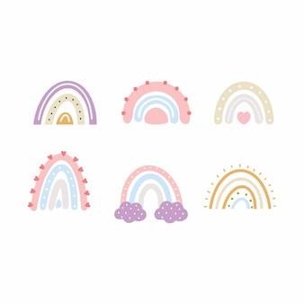 落書きスタイルで美しい虹を設定します。デザインの子供たちのポストカードのための雲。女の子のためのファッションデザイン。