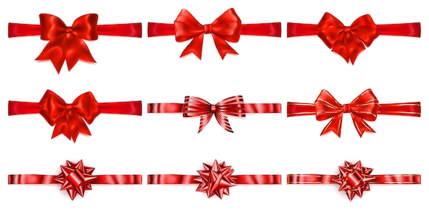 Set of beautiful red bows with horizontal ribbons with shadows