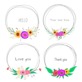 Set of beautiful round frames with flower for decoration