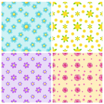Set of beautiful seamless patterns with flower