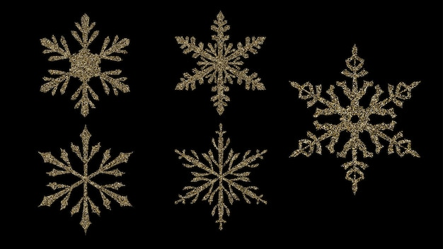 Set of beautiful shiny complex christmas snowflakes made of sparkles in golden colors
