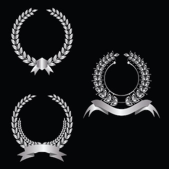 Set of beautiful silver wreaths