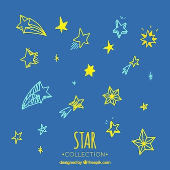 Set of beautiful sketches of colorful stars