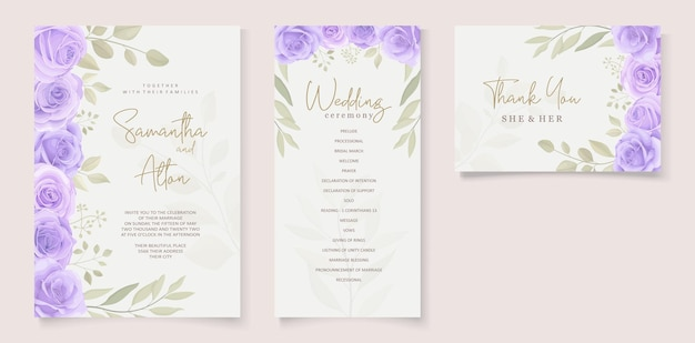 Set of beautiful soft color floral wedding invitation template