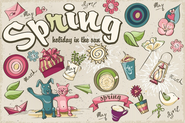 Set of beautiful spring colored nature doodles