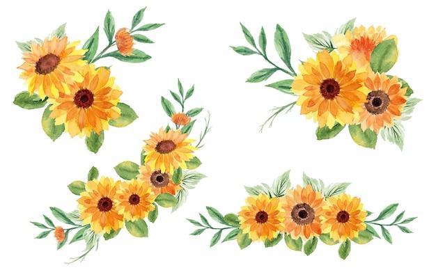 Set of beautiful summer bouquet flowers
