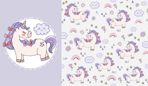 Set of beautiful unicorn animal seamless pattern design for kids