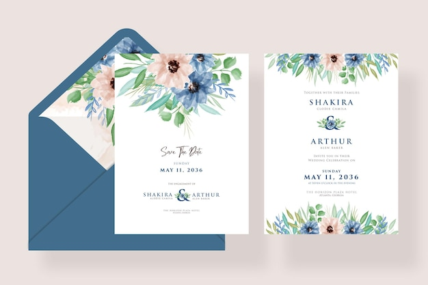 Set of beautiful watercolor floral wedding invitation with blue envelope template design