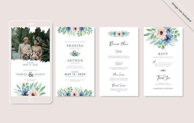 Set of beautiful watercolor floral wedding social media invitation template design
