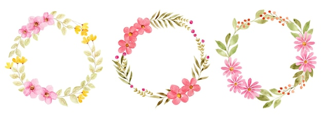 Set of beautiful watercolor flower wreath