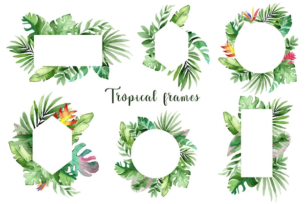 Set of beautiful watercolor frames with green tropical leaves and flowers