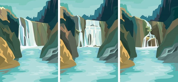Set of beautiful waterfall landscapes.