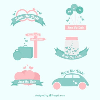 Set of beautiful wedding invitation stickers
