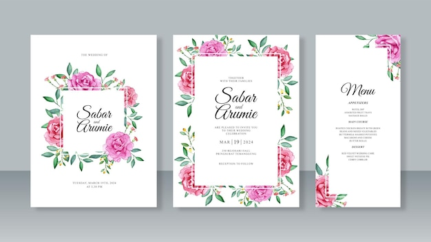 Set of beautiful wedding invitation templates with watercolor rose flower painting