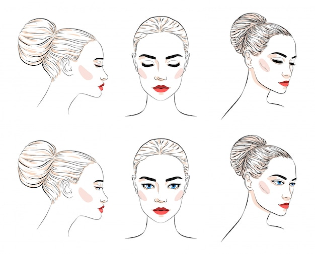 Set of beautiful woman with bun hairstyle and elegant makeup,