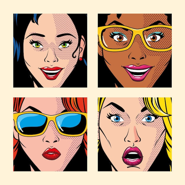 Set of beautiful women portraits, pop art style illustration design