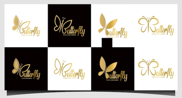 Set beauty butterfly logo design inspiration - vector