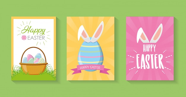 Set of beauty easter cards, happy easter card