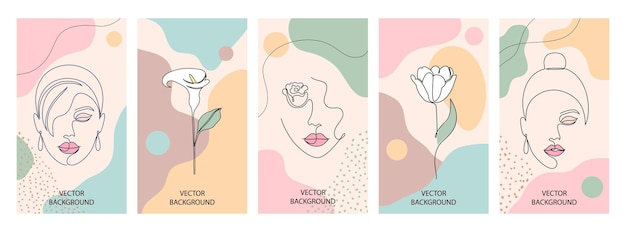 Set of beauty and fashion illustrations for print. woman with flowers and abstract shapes