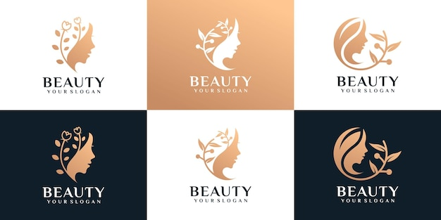 Set of beauty golden woman face with nature spa fashion boutique concept
