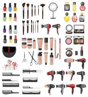 Set of beauty items. cartoon style.