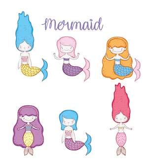Set beauty mermaids women with hairstyle and tail