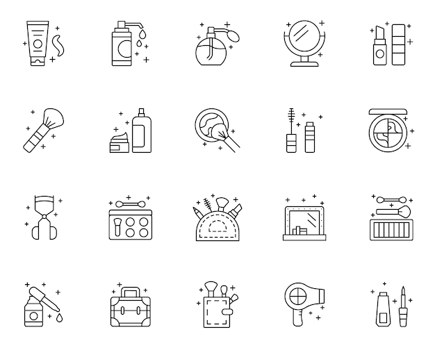 Set of beauty outline icons